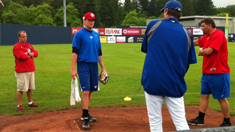 RHP Matt Johnson works on his mechanics out at Scotiabank Field on Saturday.